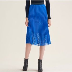 NWT! Maje Pleated Lace Pannel Skirt